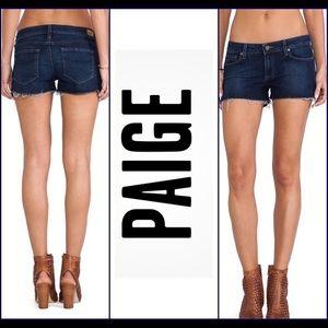 Paige   jean cut off dark wash shorts 27